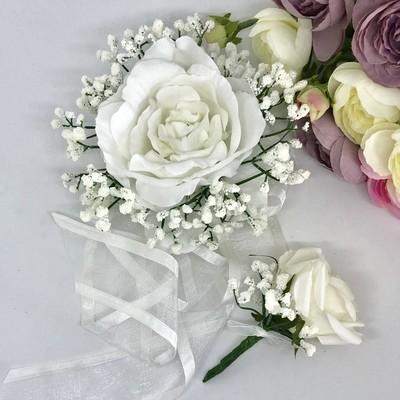 PORTIA - White Formal Corsage Set