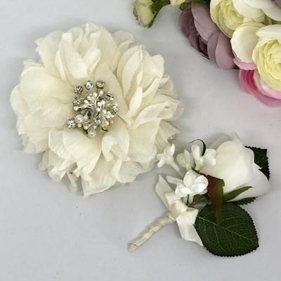 IRENE - Ivory Formal Corsage Set