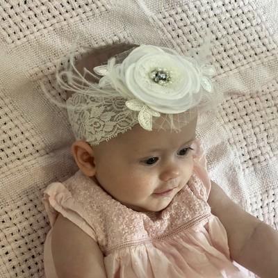 ELLEN -  Feathered Flower Baby Toddler Wedding Bridal Headband