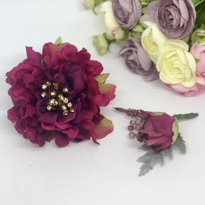 CARLEY - Deep Pink Formal Corsage Set