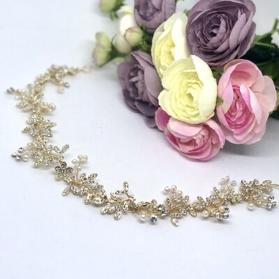 GRACIE - Gold & Pearl Wedding Bridal Head Piece