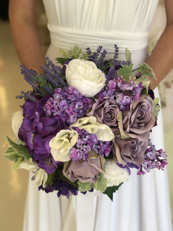 PRISCILLA - 4 x Purple Floral Bridal Bouquets