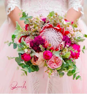 LUCILLE - 3 x Pink Floral Bridal Bouquets