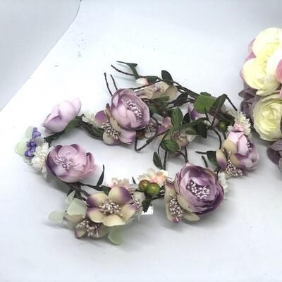 VIOLET - Silk Pink Flower Crown Hair Vine
