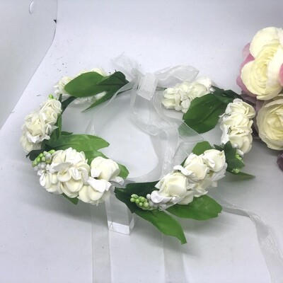 WINTER - White Real Touch Rose Flower Crown
