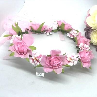 PRISCILLA - Silk White and Pink Flower Crown