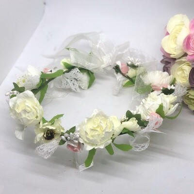 COURTNEY - Silk Ivory White Country Flower Crown