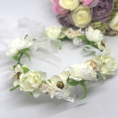 SHELLY - White flowers and Seashells Flower Crown