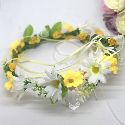 DAISY - White and Yellow Daisy Flower Crown