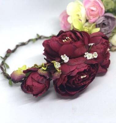 DIANDRA - Deep Red Flower Crown