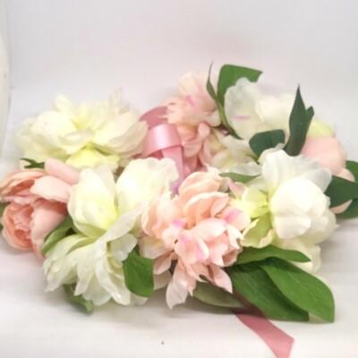 PEYTON - Large Pink and White Peonies Flower Crown