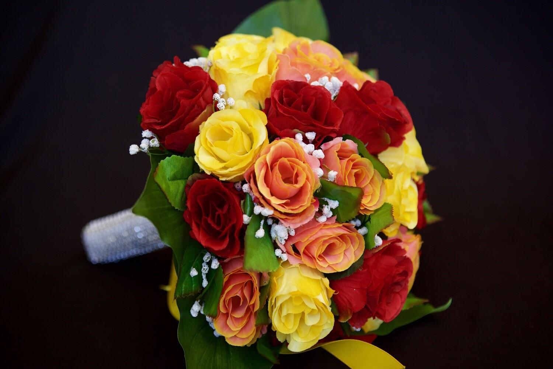 BLISS - Bright Colour Rose Bridal Bouquet