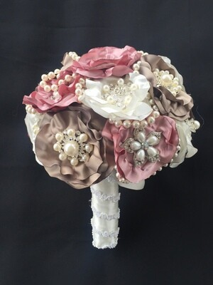 ANDREA - Pink Satin Bridal Bouquet