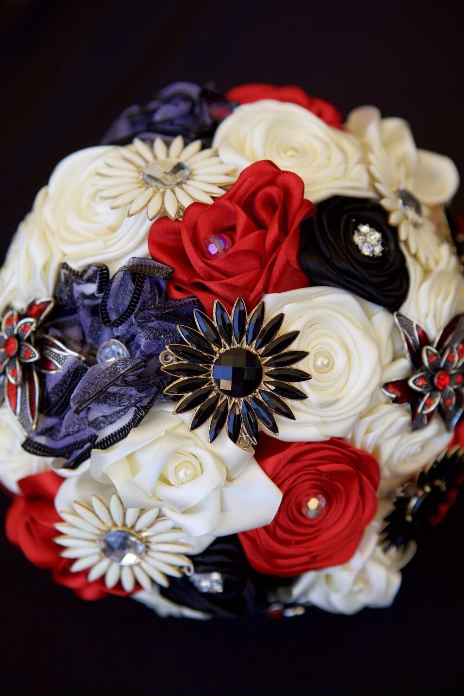 RACHEL - Red, Black & Ivory Bridal Bouquet