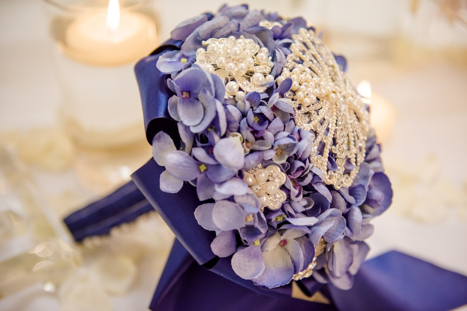 BRENDA - Blue and Pearl Bridal Bouquet