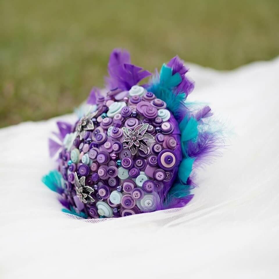 PIPPA - Purple & Blue Button Bridal Bouquet