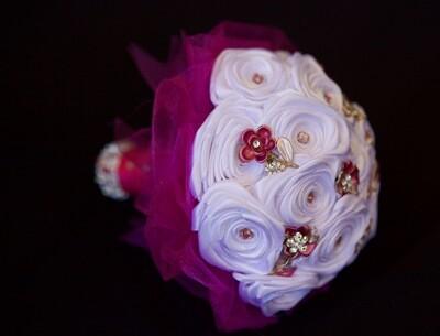 DANA - Small Flower Girl Satin Brooch Bouquet