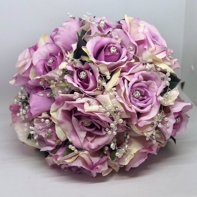 NELLIE - Pink Rose and Bling  Bridal Bouquet