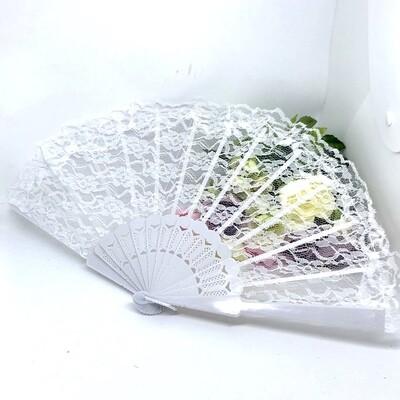 ANNABELLE - White Lace Bridal Fan