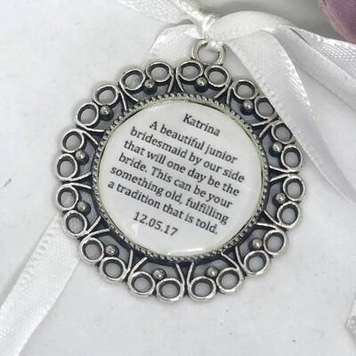 NELLIE - Antique Silver Flower Girl Charm
