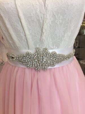 DANA - White Ribbon Bridal Wedding Sash Belt with Rhinestone Feature