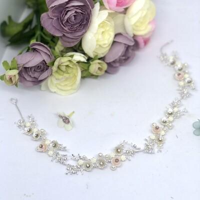 ORIANA - Silver & Pearl Wedding Bridal Head Piece