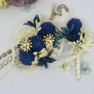 BELLA - Blue & Gold Formal Corsage Set