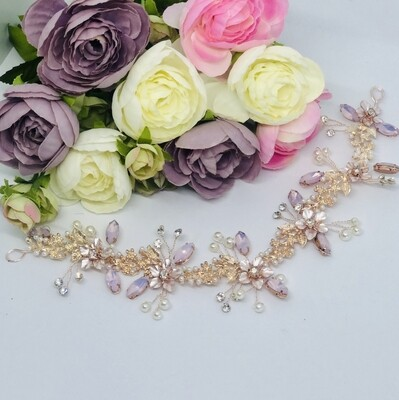 NARELLE - Gold & Pink Wedding Bridal Head Piece