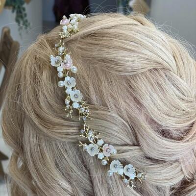 ORIANA - Gold & Pearl Wedding Bridal Head Piece
