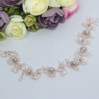 SHEILA -  Rose Gold with pearls and crystals Hair Vine