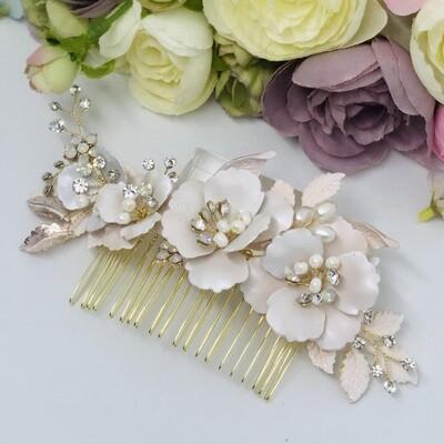 ALEXANDRA - Gold Crystal Wedding Bridal Hair Comb
