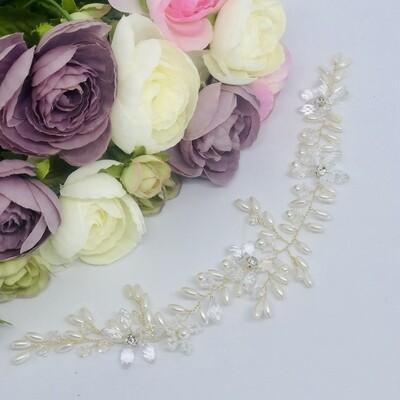 WENDY - Gold & Pearl Wedding Bridal Head Piece