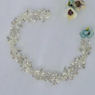 PEGGY - Silver Crystal Rhinestone Head Piece
