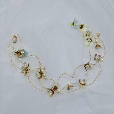 NORMA - Gold & Pearl Wedding Bridal Vine Headpiece
