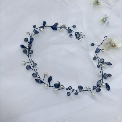 BREA - Blue & Pearl Crystal Bridal Wedding Hair Vine