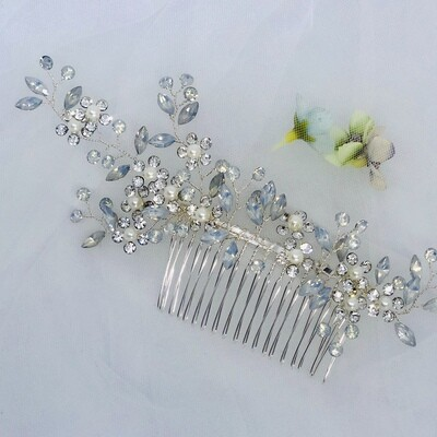 ARIA - Silver Crystal Wedding Bridal Hair Comb