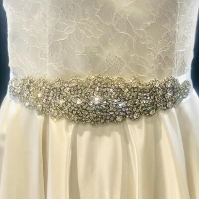 ALLY - Ivory Ribbon Bridal Wedding Sash Belt
