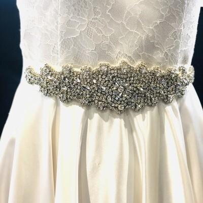 MARNIE - Silver Ribbon Bridal Wedding Sash Belt
