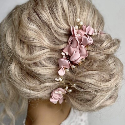 AMELIA - Dusty Rose &Gold Wedding Bridal Hairvine