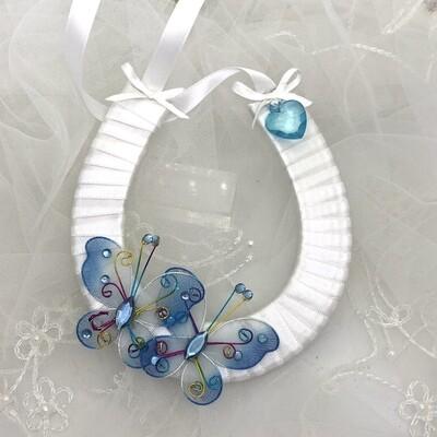 BELINDA BLUE - White Horseshoe Good Luck Charm