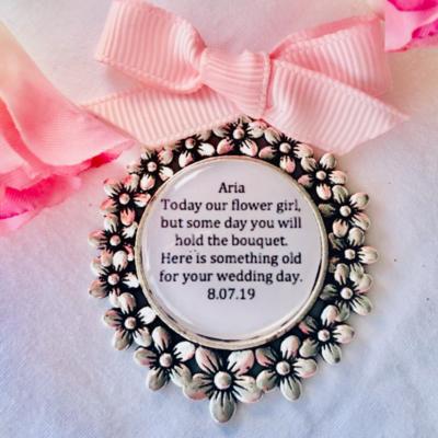 DAISY - Antique Silver Flower Girl Charm