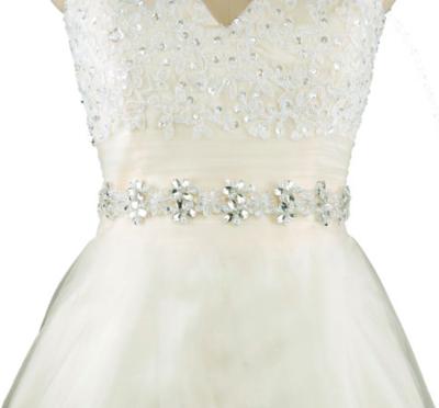 CAMILLA - Floral Crystal Sash Belt - White