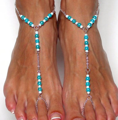 BEATRICE - Pair of Beaded Barefoot Sandals