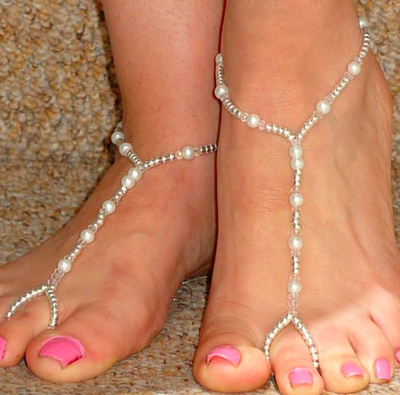 TRACEY - Pair of Beaded Barefoot Sandals