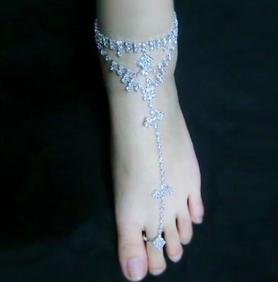 CHRISSY - Silver Pair Bling Barefoot Sandals