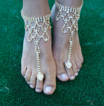 PATRICIA - Pair of Gold Bling Barefoot Sandals