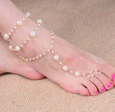 GOLDIE - Gold Chain & Pearl Barefoot Sandals