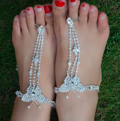 BUTTERFLY - Pair of Silver Bling Barefoot Sandals