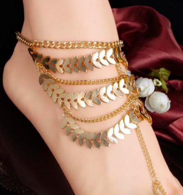 GRACIE  - Pair of Golden Barefoot Sandals