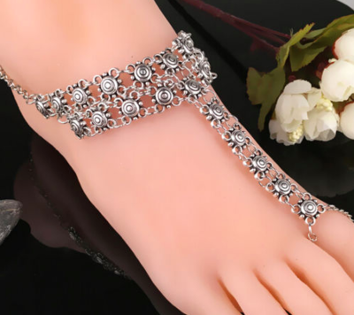 ADRIENNE - Pair of Silver Barefoot Sandals
